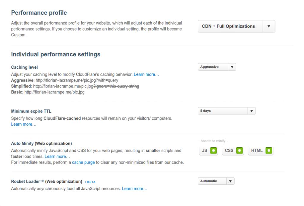 Choix optimisation Cloudflare