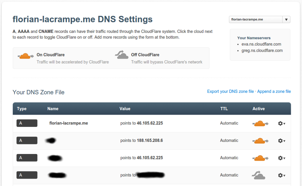 Gestion DNS Cloudflare