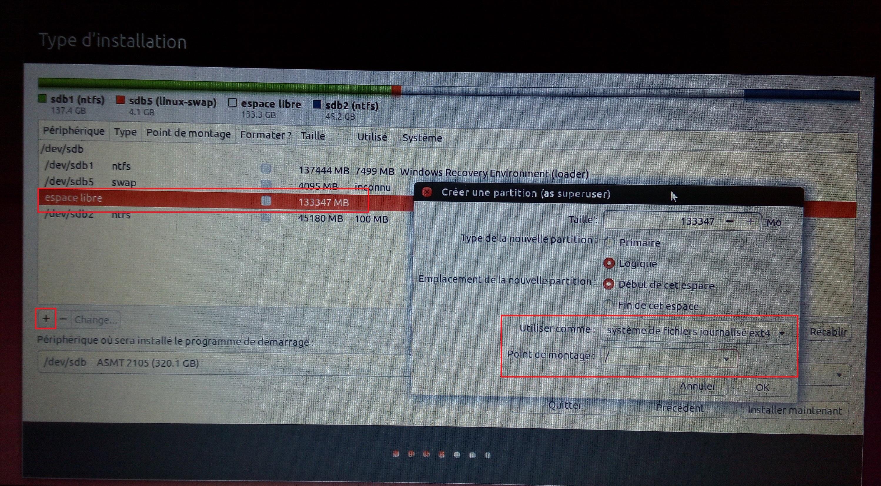 Ubuntu espace système